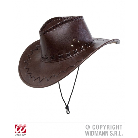 Cappello cowboy ecopelle marrone