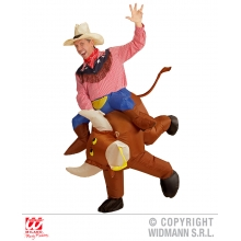 Costume Toro scatenato gonfiabile Cow boy Rodeo